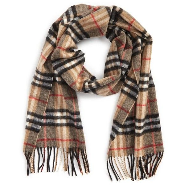 Women's Burberry Castleford Check Cashmere Scarf ($435) ❤ liked on Polyvore featuring accessories, scarves, camel, checkered scarves, burberry scarves, burberry, burberry shawl and woven scarves