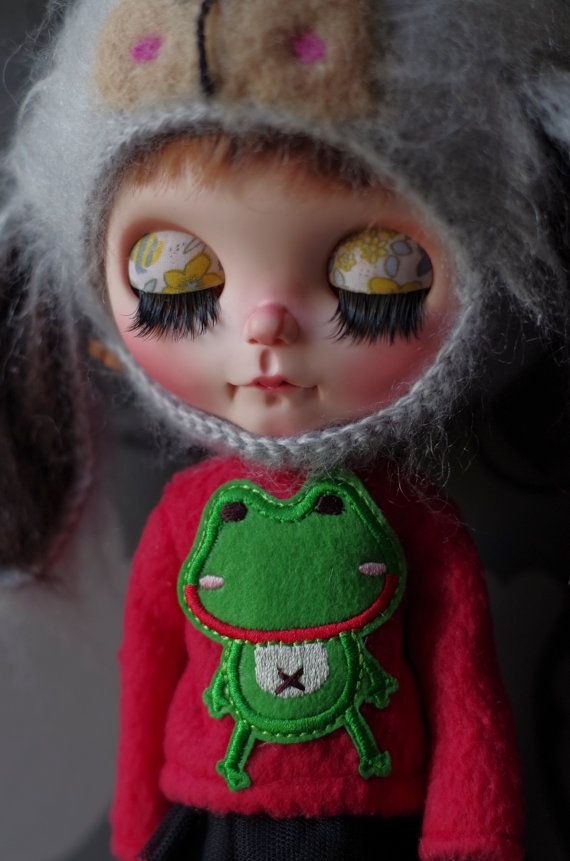 Blythe rot Froggy Fleece-Pullover Rock und Schal set Pure