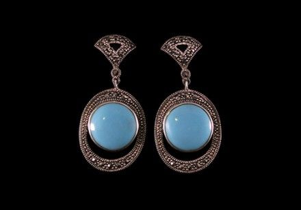 Twenties Roar- turquoise some round vintage earrings inspired by the 1920's