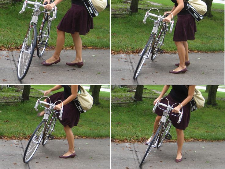How to mount a road bike in a skirt -- Tilt the bike. Genius! :P
