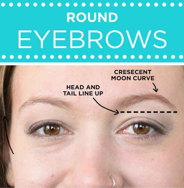 For round eyebrows: Focus on using a pencil to create an arch further away from the center of the eyebrow.