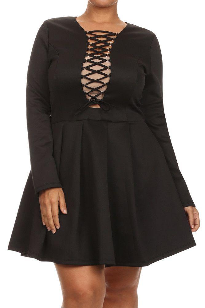 Plus Size Midnight Crush Long Sleeve Dress – PLUSSIZEFIX ...