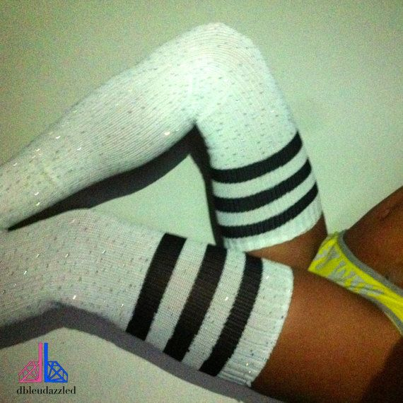 crystallized white thigh high socks with stripes by dbleudazzled, $60.00