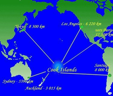Map Showing the location of the Cook Islands in the South Pacific