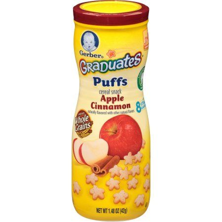 Gerber Graduates Puffs Cereal Snack Apple Cinnamon, Naturally Flavored with Other Natural Flavors, 1.48 Ounce, 6 Count