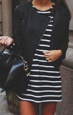Vestido de listras + jaqueta