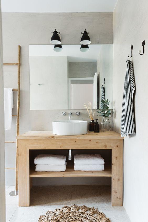 modern pine vanity with bowl sink: