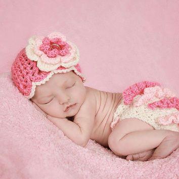 Newborn Baby Girl Hat and Diaper Cover, Baby Girl Crochet Set, Newborn Crochet…