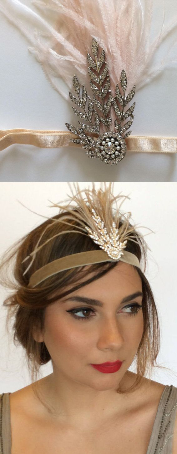 Gatsby headband. This Gold or Silver jeweled beaded + ostrich feathered headpiece will be custom made with your choice of gold or silver jewel, and your choice ostrich feather colors. Blush ostrich feather headband, gold jewel fascinator, beige ostrich feathers headband, gold flapper rhinestones. Gatsby Downton Abbey, 1920's flappergirl party outfits. #Gatsby #flappergirls #roaring20s #partyseason #christmasparty #xmasparty #affiliatelink #bridalwear