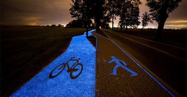 La prima pista ciclabile che si illumina di notte senza energia elettrica