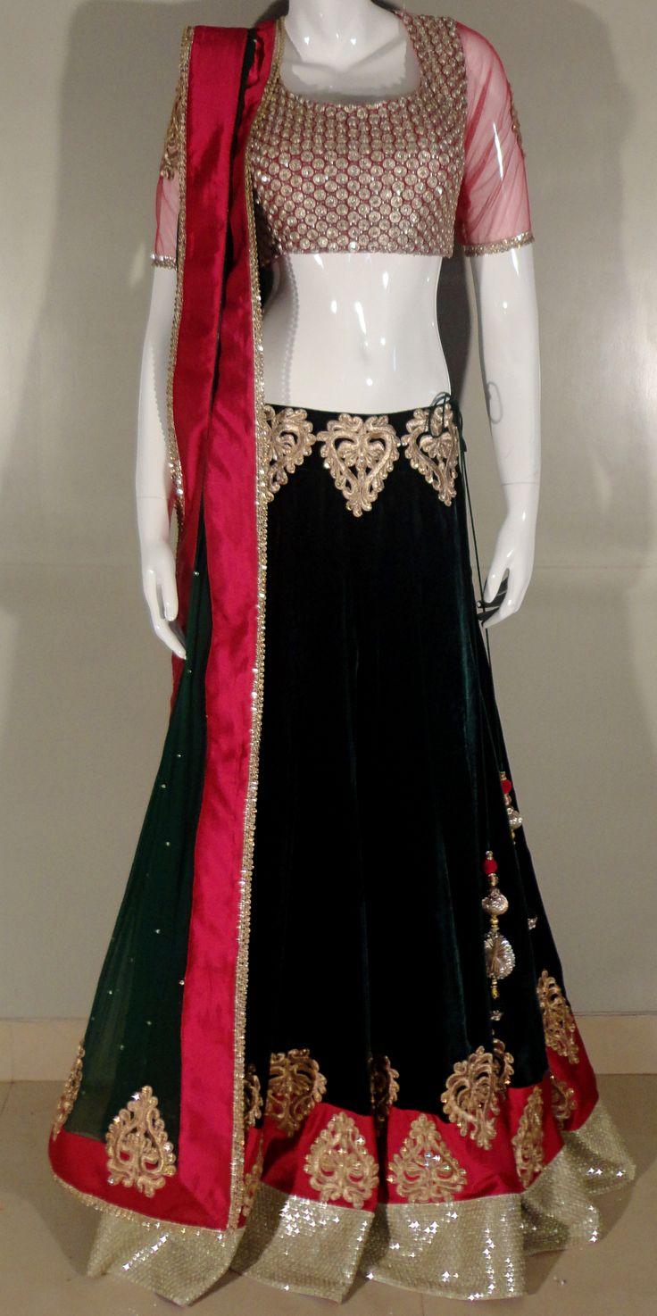 red and black velvet lengha