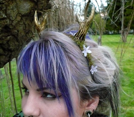 Moss and Flower Nymph Fawn Horns by idolatre on Etsy, $59.00