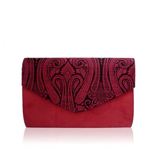 Red tapestry large clutch