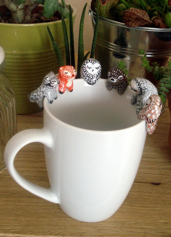 Tea bag holder My Fox oMamaWolf ceramic figurine by oMamaWolf