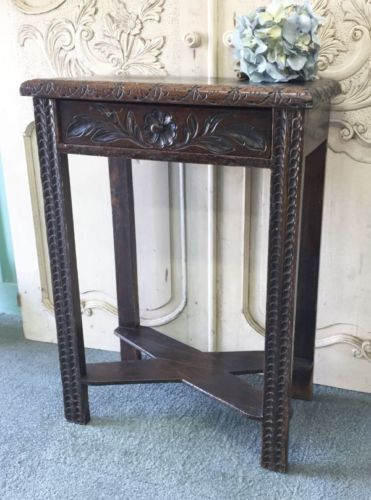 ANTIQUE-FRENCH-HEAVILY-CARVED-OAK-BRETON-SIDE-TABLE-i129