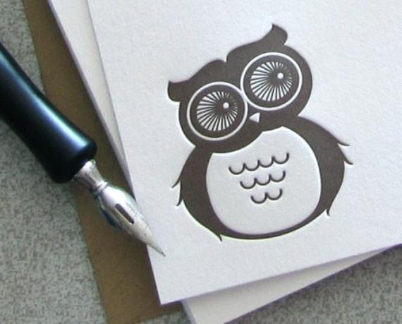 Letterpress owl notecards by Sweetharvey!