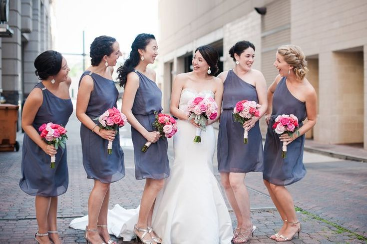We're obsessed with these purple one shoulder bridesmaid dresses (Naomi Lynn Photography)