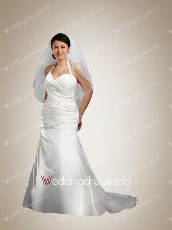 Awesome Mermaid Halter Beaded Satin Plus Size Wedding Dress