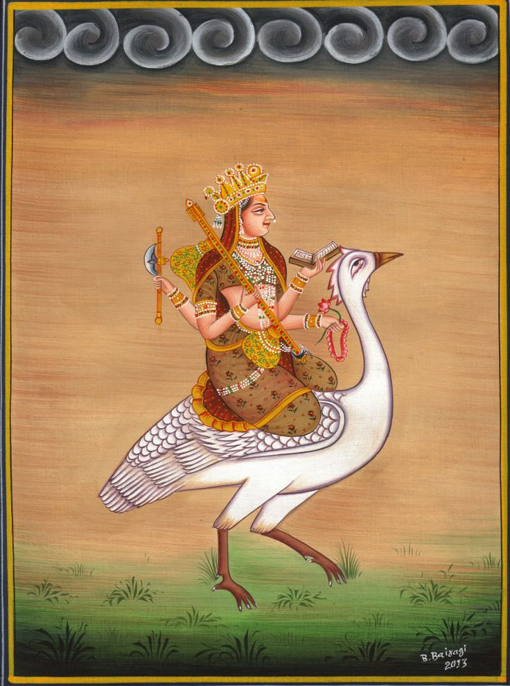 A 19th century miniature painting of Goddess Saraswathi from Jaipur. Painted with water colours on cotton.