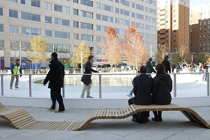 Canal Park, Washington, D.C., by OLIN / Sahar Coston-Hardy. Reclaimed wood benches by the ice rink.