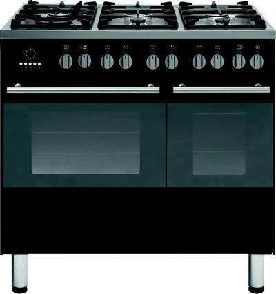 Strak antraciet fornuis van SMEG uitgevoerd met dubbele oven en 6-pits kookvlak
