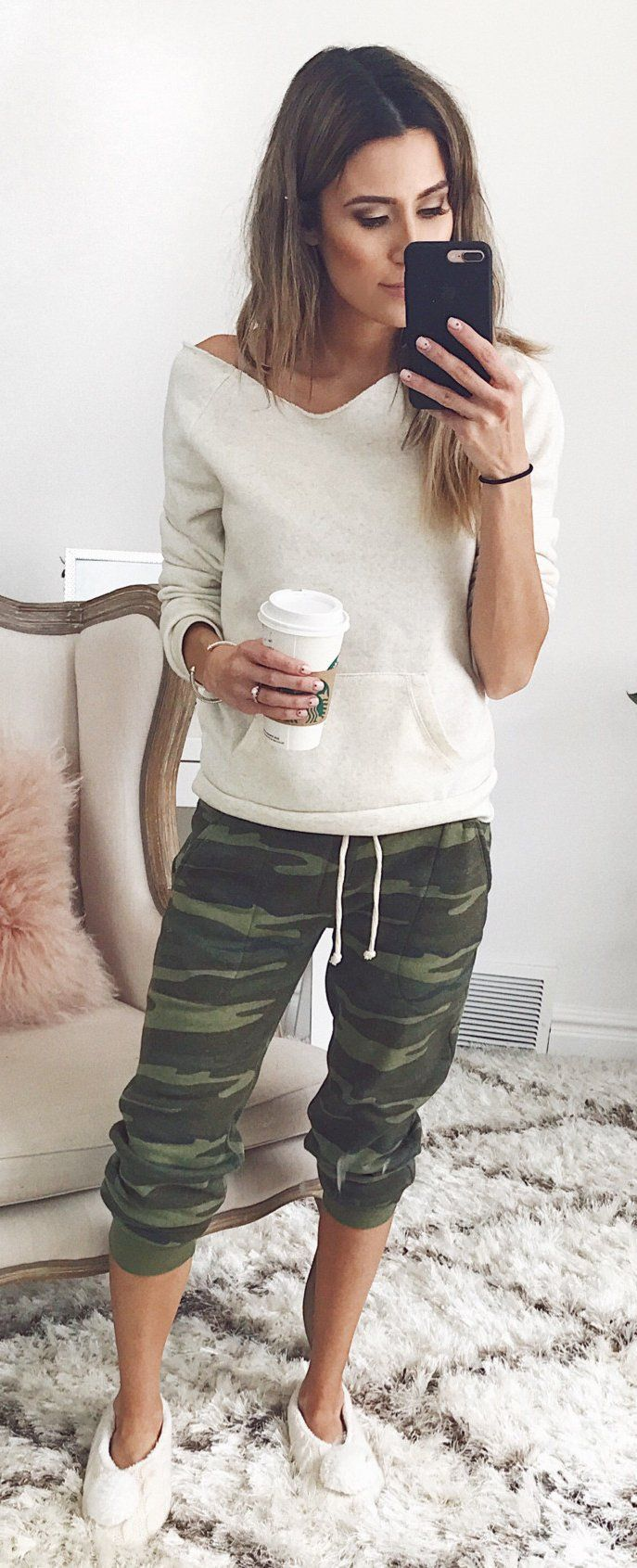 White Knit & Army Cropped Pants