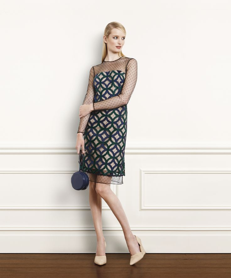 1) Peacock And Spruce Green Circle Embroidered On Point D'esprit Dress 2)