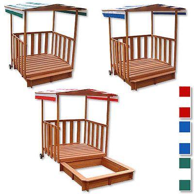 Awesome Details zu Sandkasten Spielhaus mit Spielveranda Sandbox Sandkiste Holz Dach Deckel