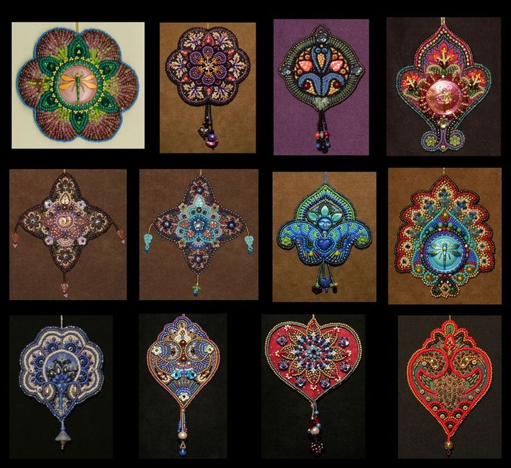 Ornament designs 1-12 by Lisa Binkley's blog.  Beautiful ideas for beadwork designs.