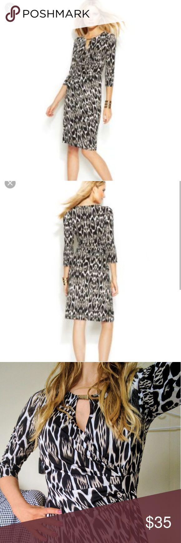 International Concepts long sleeve faux wrap dress Excellent condition faux wrap animal print dress. Polyester, spandex blend INC International Concepts Dresses Long Sleeve