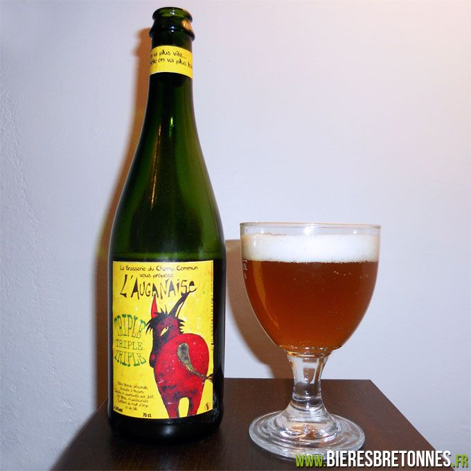 Une bière qui rue dans les brancards ? L'Auganaise Triple est une bière blonde Triple brassée par la brasserie du Champ Commun à Augan dans le Morbihan (56). http://www.bieresbretonnes.fr/portfolio-item/lauganaise-triple/