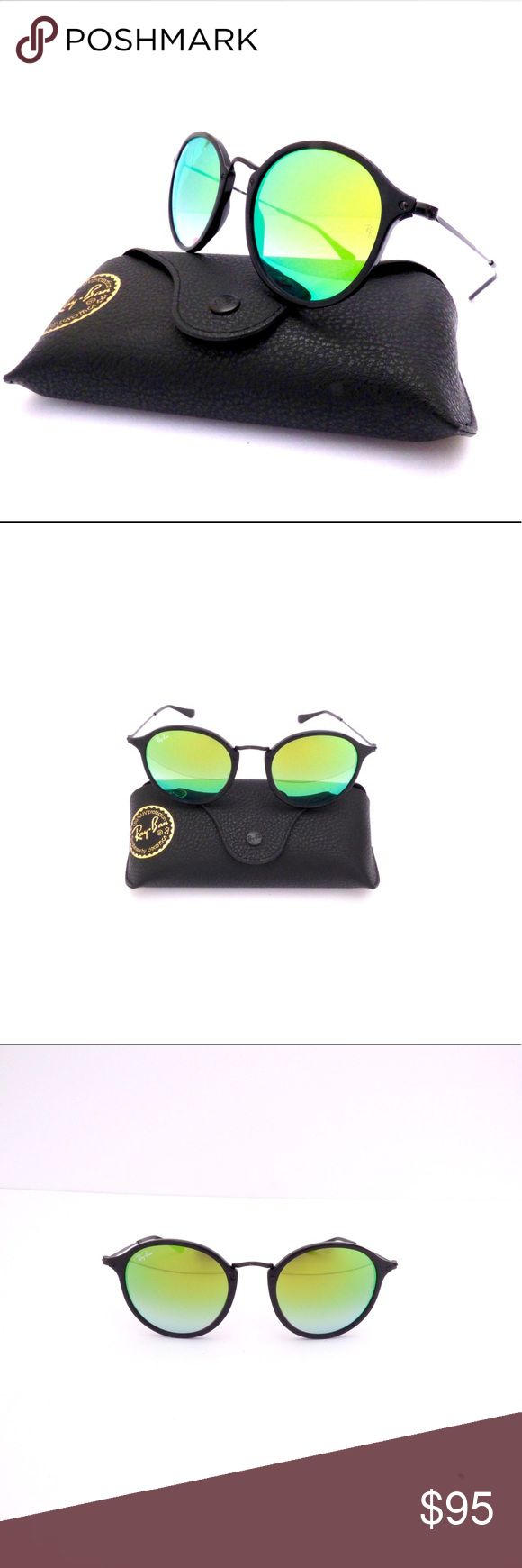 100% Authentic Ray-Ban Round Icon Black Sunglasses Ray-Ban Black Round Icon Sunglasses RB2447 901/4J 52/21/145 3N  These Round Icon sunglasses with a thin Black Frame and Green Mirrored lenses are a must! A classic look for on trend style 100% Authentic. Made in Italy. Covered Ray-Ban Limited Lifetime Warranty.  Model:RB2447 901/4J Eye:52mm Bridge:21mm Temple:145mm Lens Tech:Anti-Reflection Lens Color:Green Mirrored Style:Round Frame color/Material:Black/Metal  Comes with Black Leather Case…