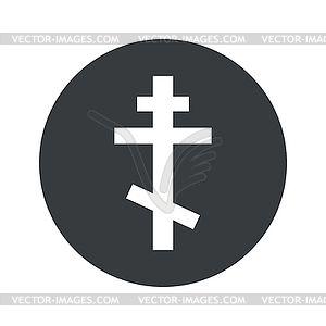 Черно-белый круглый православной иконы поперечного - векторизованное изображение клипарта