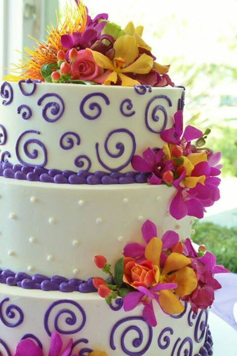 Tropical themed wedding cake, orchid wedding cake, hawaiian wedding cake, rasassy cakes sonoma county, pink purple orange wedding cake, colorful wedding cake. Whimsical wedding cake.