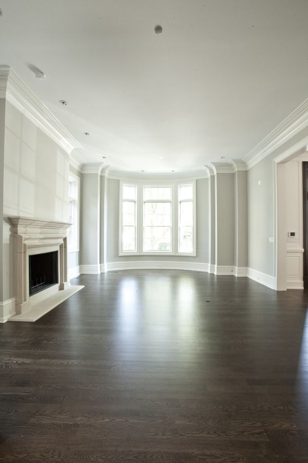 dark hardwood floors with light gray and white walls- add in the fireplace and I'm totally making this our great room!