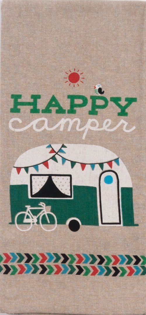 This 100% cotton tea towel features an adorable teardrop camper that would look great in any trailer.  Measures 18 in x 28 in.
