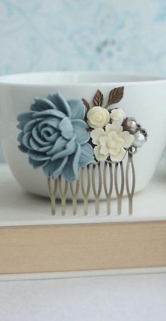 Dusky Blue, Ivory Flower, Leaf Sprig, Powder Blue, Dusty Blue, Pearl Flower Wedding Hair Comb. Bridesmaid Gift Something Blue, Rustic Blue.  https://www.etsy.com/listing/181054627/dusky-blue-ivory-flower-leaf-sprig?nc=1