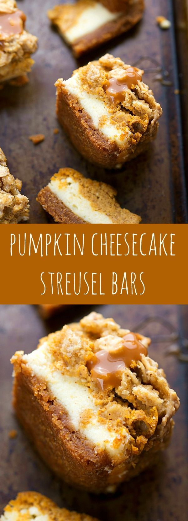 With two layers of cheesecake on a delicious cinnamon graham cracker crust topped with an easy streusel....you'll want to keep this recipe handy! Pumpkin Caramel Cheesecake Bars with Streusel Topping - Fall and Winter Dessert Recipe | Chelsea's Messy Apron