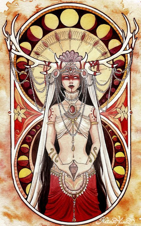 """Yoni is one of the most primeval forms of the goddess. She represents the origin of life, the womb or """"secred temple"""" in Hindu philosophy, the creative force of the Shakti/Devi. She's doing a """"yoni mudra"""" with her hands (a symbolic hindu gesture that represents the woman's vulva and the primal female energies) By Natasa Ilincic"""