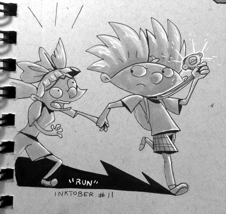 Hey Arnold Inktober #11 - RUN by ARRKU