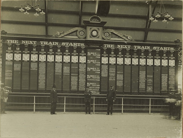 The train departures indicator at Central Railway Station, Sydney by State Records NSW, via Flickr 31/12/1906