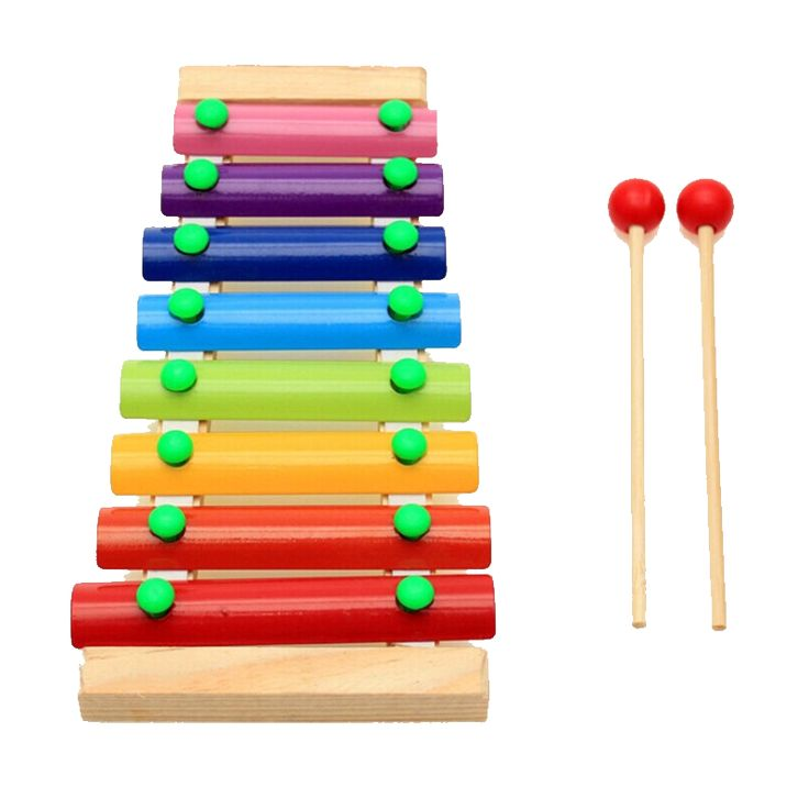 Colorful Wooden Hand Knock Piano with 8 tones (1yr to 3yrs)
