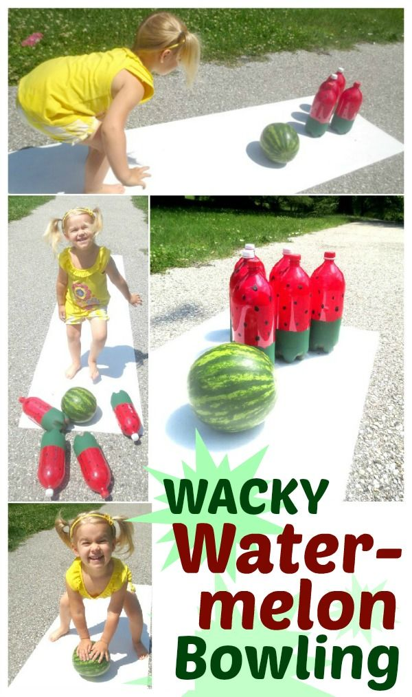 Watermelon bowling- a super fun game for Summer!  Great for cook outs, Summer parties, family fun days, or for a WACKY watermelon day. -  Pinned for BabyBump, the #1 mobile pregnancy tracker with the built-in community for support and sharing. #family #activity