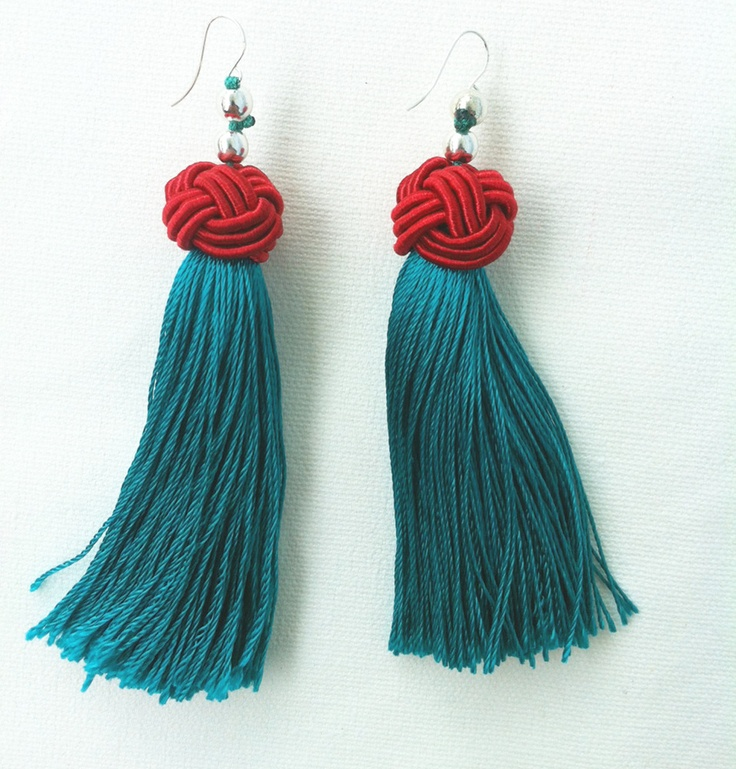 Dark turquoise and red Chinese tassel earrings