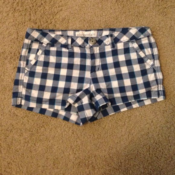 Checkers blue and white shorts Super cute shorts, just don't fit! In perfect condition! Aeropostale Shorts