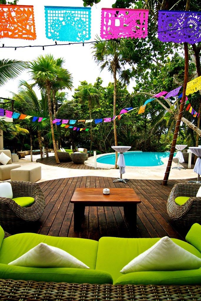 cocktail tables, lounges & el papel picado