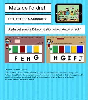 Mets de l'ordre ! Alphabet sonore minuscule et majuscule.  2 fichiers Notebook pour TBI à utiliser en groupe ou en atelier autonome. Complètement autocorrectif.