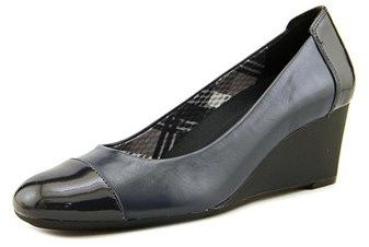 Naturalizer Necile Women N/s Open Toe Leather Blue Wedge Heel.