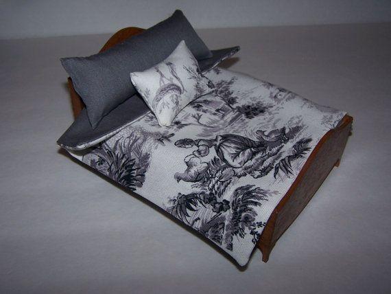 Dollhouse Miniature | Comforter Set | Pillows | Waverly |  Toile Print Fabric | Grey Cotton Lining | Handmade |  Bedding Set | Free Shipping