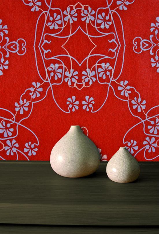 Dutch Wallcoverings Vlies bloem/damast - rood/wit/blauw
